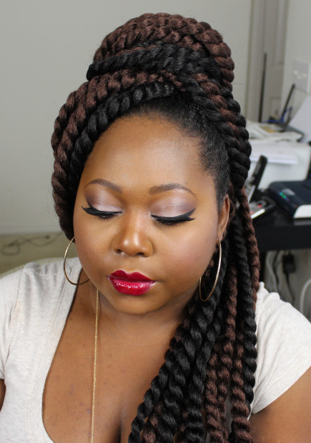 Crochet Jumbo Braids : Step 4 : Wrap the hair in any direction you wish, making sure to pin ...