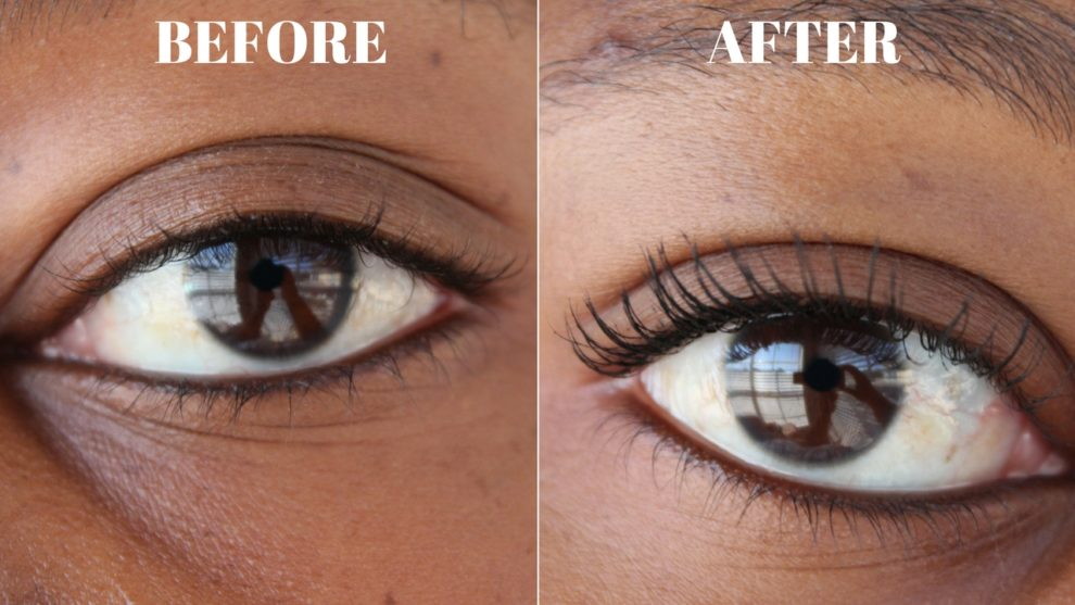 Before and After using the Maybelline The Falsies Push Up Angel Mascara