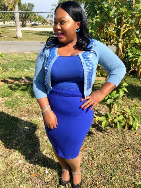 blue pencil skirt x fancy crop sweater