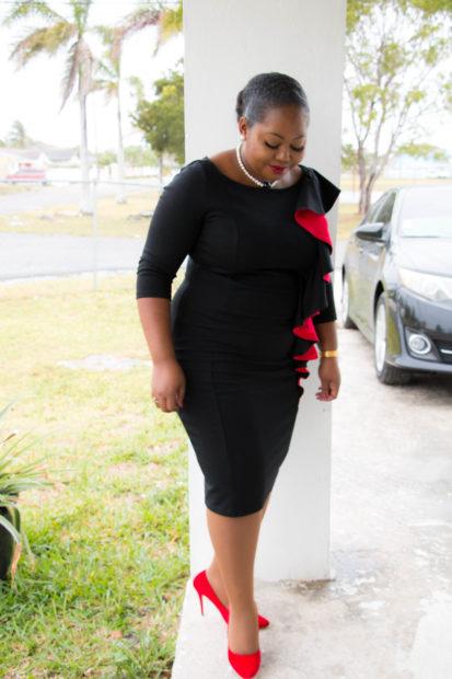 black and red bodycon midi dress