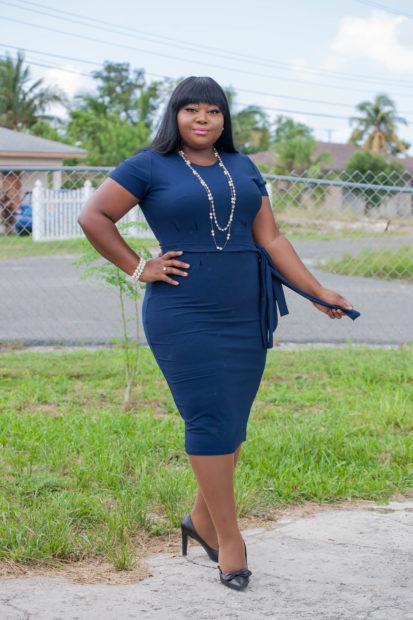 navy midi pencil dress