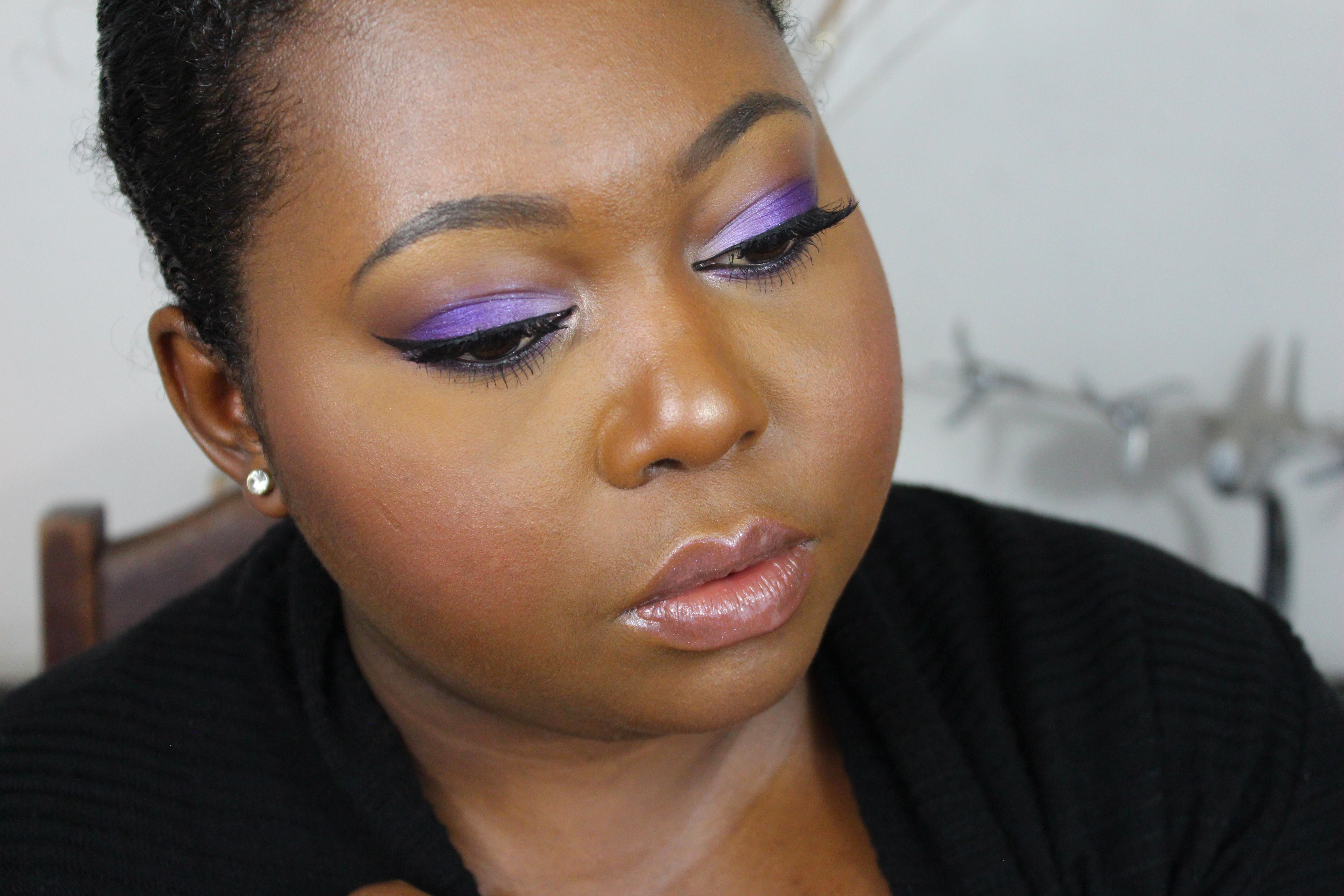 violet snow makeup look