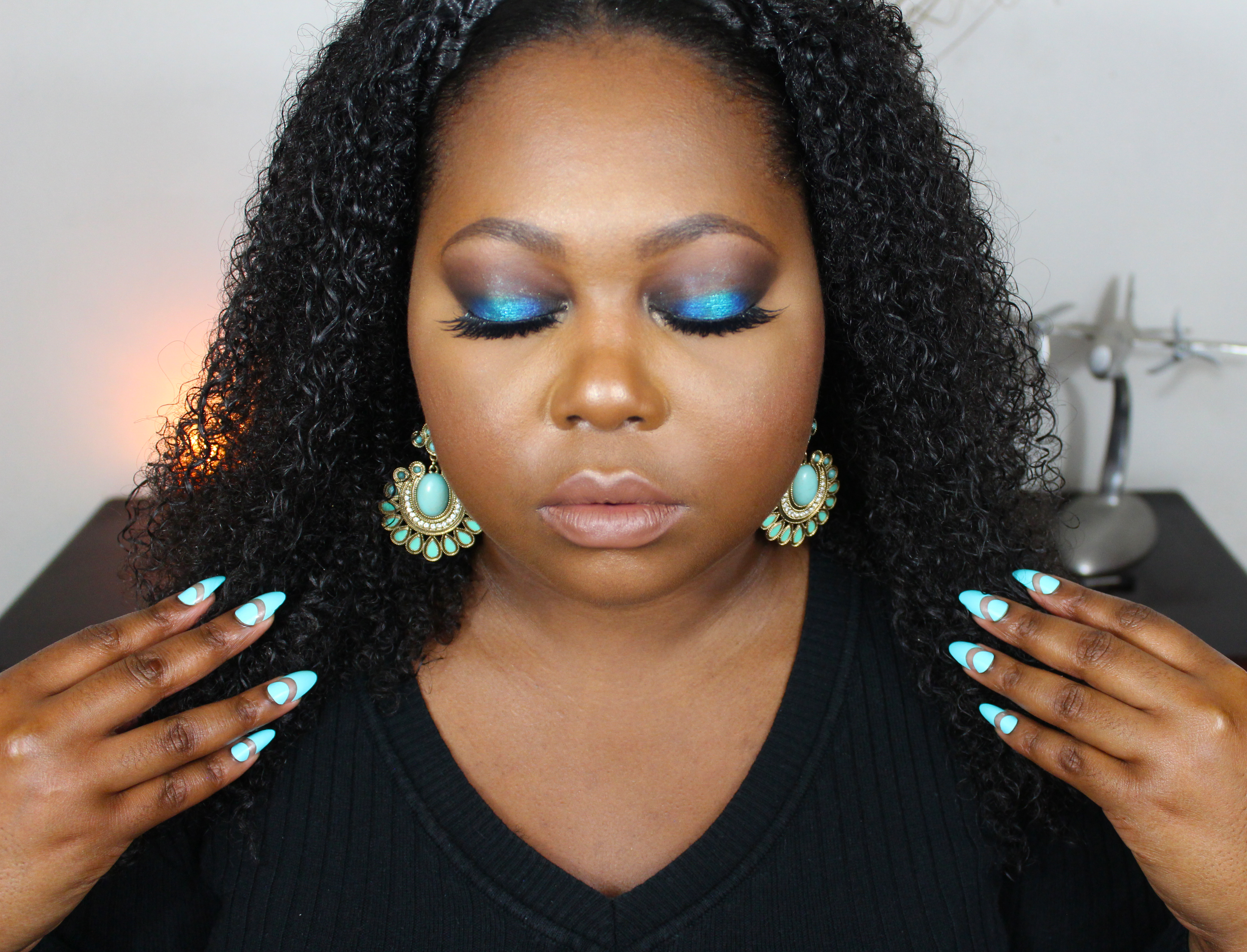 blue makeup for brown eyes
