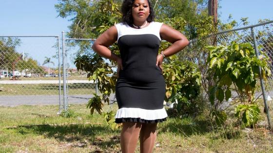black and white ruffle bottom dress