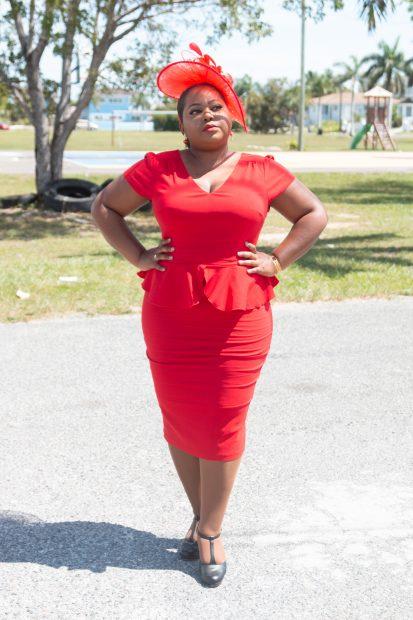 red pencil midi dress